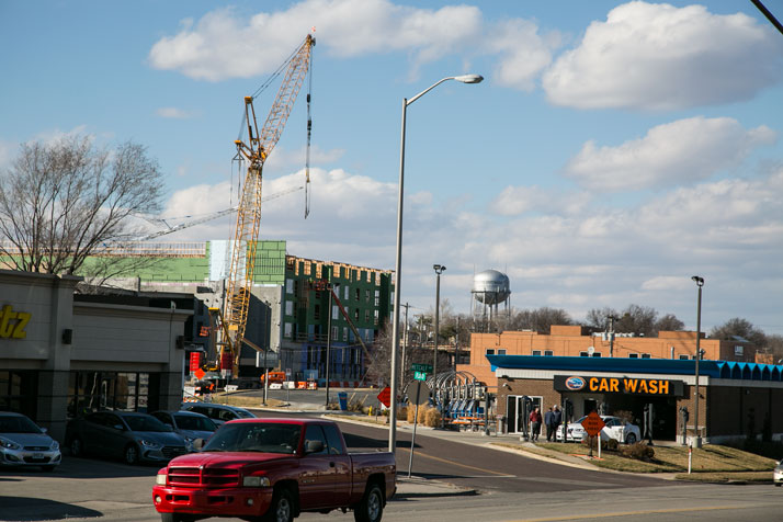 downtown overland park with multifamily community being built