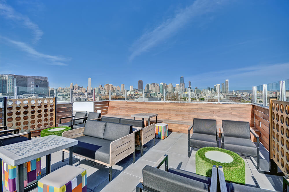 Rooftop game patio at Fairfield Residential's L Seven Apartments in San Francisco