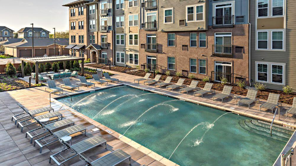 Pool deck at the 180-unit Draper and Kramer community in Schaumburg, Illinois
